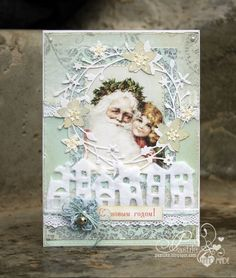 Pastel Vintage Santa & Girl Card... pastilka - a nice blog - in russian