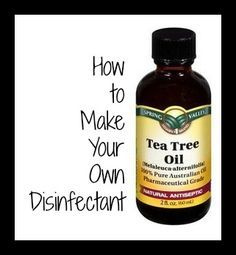 How to Make Your Own Disinfectant Looking for an alternative to bleach for a disinfectant? Make your own disinfectant with 2 cups of water, 3 tablespoons of vinegar and 20-30 drops of tea tree oil. Tea Tree Oil has natural antibacterial properties which can help get rid of germs! You can put in a spray bottle and use on kitchen counter tops and other surfaces.