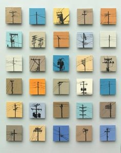 Urban Sentinels - hand painted in glaze ceramic tile mural by Jason Messinger Art Small Canvas Art, Mini Canvas Art, Diy Canvas, Small Art, Art Mini Toile, Painting Ceramic Tiles, Ceramics Tile, Ceramic Art, Glazed Ceramic