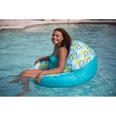 Comfort Research Big Joe Joenut Float Lounger Color: Blue/Orange Swimming Gear, Swimming Pool House, Swimming Pools, Outdoor Bean Bag Chair, Floating Cooler, Sport Pool, Water Toys, Sports Toys, Above Ground Pool