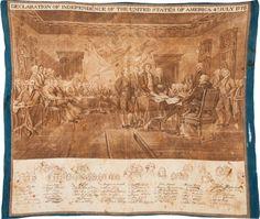Declaration of Independence: Circa 1850 Textile. Vintage Bandana, Cotton Bandanas, Declaration Of Independence, Vintage World Maps, Auction, Textiles, Prints, Painting, Art
