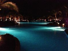 A gorgeous view - the pools of the Barcelo Maya Colonial at night, Playa del Carmen, Mexico July 2013 Barcelo Maya Colonial, Location Scout, Purple Reign, I Cool, Scouting, Pools, Mexico, Vacation, Night