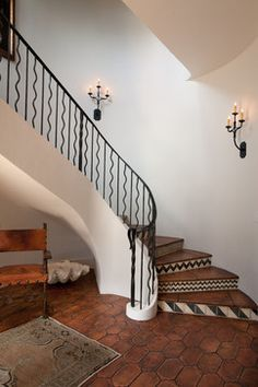 Rustic and luxurious Tabarka deco tiles in charcoal on off white at Cottage 52 by Thomas Thaddeus Truett Architect Iron Staircase Railing, Tiled Staircase, Rustic Staircase, Tile Stairs, Stair Risers, Grand Staircase, Staircases, Bannister, Wood Stairs