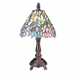 Meyda Tiffany Wisteria Tiffany Floral H Mini Table Lamp with Bowl Shade, Blue Kids Lighting, Rustic Lighting, Wall Lighting, Victorian Table Lamps, Stained Glass Table Lamps, Kitchen Lamps, Candelabra Bulbs, Ceiling Fixtures, Wisteria