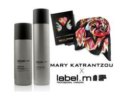 Receive a free Mary Katrantzou scarf with the purchase of both: Hairspray and Volume Mousse. This kit contains all items shown. Mary Katrantzou, Hairspray, Free Gifts, Mousse, Label, Kit, Create, Hair Sprays, Corporate Gifts