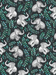 «Laughing Baby Elephants – emerald and turquoise» de micklyn