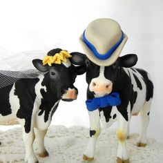 Holstein Cow and Bull Cake Topper with Wood Base by AnimalToppers