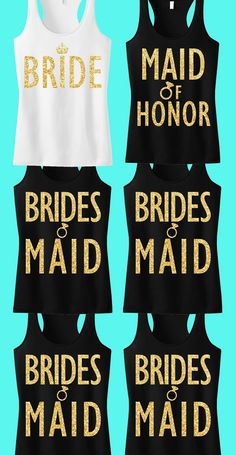 Receive 7 #BRIDAL / #WEDDING  Tank Tops (1 BRIDE, 1 MAIDOFHONOR, 5 BRIDESMAIDS) & Get 15% Off Bundle + FREE MRS. Tote by #NobullWomanApparel, for only $148.95! Click here to buy https://www.etsy.com/listing/230643048/bridal-wedding-7-tank-tops-15-off-bundle?ref=shop_home_active_6