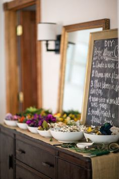 DIY flower crown and instruction board. Poster board or wood panel would probably work.