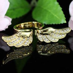 Gold Angel Wing Ring - Austrian Crystal by PsychicSpiritReading on Etsy
