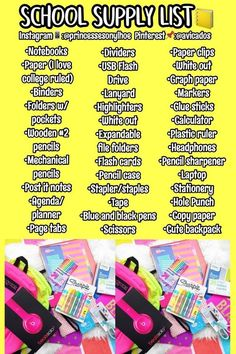 back to school list DIY Back to School Supplies for Teens - DIY Sweetheart Middle School Hacks, High School Hacks, Life Hacks For School, Back To School Tips, School Life, Law School, High School Supply List, Back To School Emergency Kit, Back To School Supplies For Teens