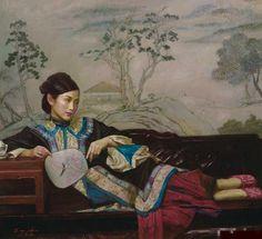 陈逸鸣油画作品:仕女系列-1 -  依春  2009年作 作品尺寸:117*128cm