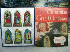 Vintage 1947 Plastic Stained Glass Window Christmas Nativity Tree Ornaments/Box