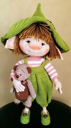 Trend Amigurumi Doll Patterns of March 2019 - Knitting Crochet ideas Crochet Doll Pattern, Crochet Toys Patterns, Amigurumi Patterns, Doll Patterns, Pattern Ideas, Afghan Patterns, Free Pattern, Knitted Dolls, Crochet Dolls