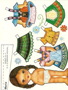 Maria paper doll of Mexicanas - Ale Saldivar - Picasa Albums Web Paper Art, Paper Crafts, Diy Crafts, Paper Dolls Printable, Thinking Day, Vintage Paper Dolls, Paper Toys, Doll Patterns, Clothes Patterns
