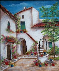 The Well At Granada. An original acrylic painting on stretched archival stretched canvas. Photo taken in Granada, Spain - paint Landscape Art, Landscape Paintings, Belle Image Nature, Orange Aesthetic, Photo Canvas, Beautiful Paintings, Home Art, Watercolor Art, Beautiful Pictures