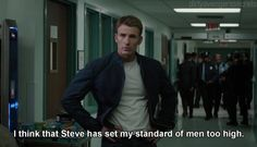 I will not settle for less than a man who will treat me like Steve Rogers would have treated Peggy Carter.