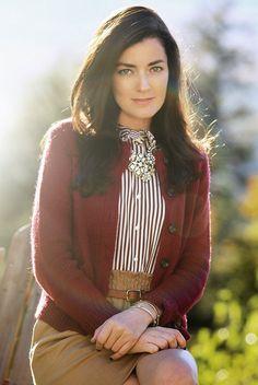 Sarah Vickers, of Classy Girls Wear Pearls, in L.L. Bean Monroe Wool Cardigan