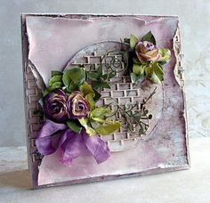 handmade card from Dorota_mk: Murek :) ... shabby chic in shades of voilet ... extremely distress paper edges ... lik the grilling on the circle ... seam binding bow ... artificial flowers ... delightful!