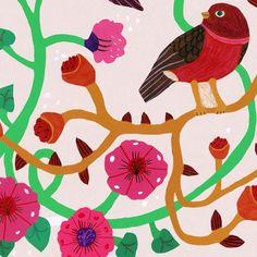 Meow #bird #flower #drawingAndSummerHolidays #illustration #monikaforsberg