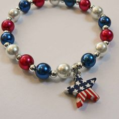 Patriotic Personalized Pearl Name Bracelet Red by stargazinglily, $4.50