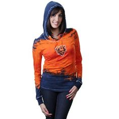 Chicago Bears Ladies Tie Dye Long Sleeve Hoodie Premium T-Shirt - Navy Blue/Orange