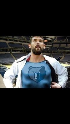 Marc Gasol as SUPERGRIZZ! (Not to be confused with our mascot, GRIZZ, which also has a SuperGrizz alter-persona).
