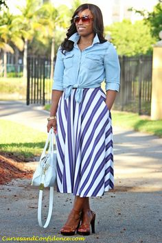 Curves and Confidence | Striped Midi