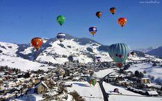 Zima, Góry, Lasy, Panorama, Miasteczka, Zawody, Balonowe