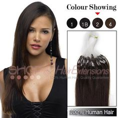 16 Inch 50s Indian Micro Loop Ring Premium Remy Hair Extensions (#2 Darkest Brown)