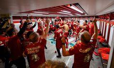 Dressing room photos: Champions celebrate Premier League glory Liverpool Fc, Liverpool Premier League, Room Photo, Champions, One Team, Dressing Room, Photos, Celebrities, Beginning Sounds