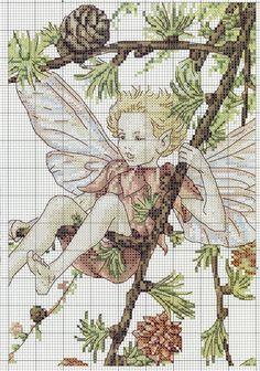 Cross stitch - fairies: Larch fairy - Cicely Mary Barker (chart - part A2)