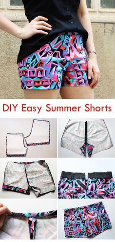 Are you ready to sew DIY summer shorts from scratch? Let´s do it! Diy Sewing Projects, Sewing Projects For Beginners, Sewing Hacks, Sewing Tutorials, Sewing Diy, Diy Clothes Patterns, Sewing Patterns Free, Sewing Clothes, Costura Diy