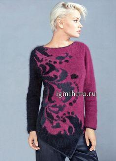 Нарядный черно-бордовый пуловер с асимметричным низом, жаккардовым узором и сочетанием фактур. Вязание спицами
