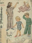 An original ca. 1940's to 1950's Simplicity Pattern 4877.  Child's Pajamas: The pajamas top buttons down the front and is finished with a pocket. Style 1 has feet in one with the pajama and the top is finished with a collar and long sleeves. Style II has short sleeves and a collar. The trousers are finished with a drawstring closing. Styles III and IV button to the top. Style III is collarless and has long sleeves. Style IV features short legs in the pajamas, a collar and short sleeves.