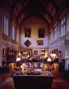The Great Hall at Fawsley Hall, Northamptonshire, England, UK