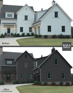 A beautiful home exterior paint job is a show stopper! We've found the best 2020 exterior house colors when selling or staying in your home. Black House Exterior, Stucco Exterior, Exterior Paint Colors For House, Exterior Design, Exterior Colors, Home Exterior Makeover, Exterior Remodel, Garage Makeover, Makeover Tips
