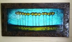 Faux Framed Abstract Trees Art 24x48 by Derek by PattersonArt