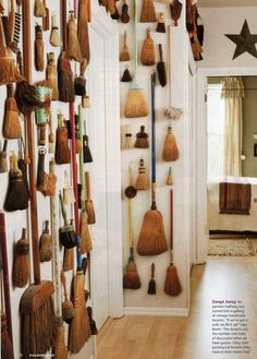 Whisk broom display in hall. Brooms And Brushes, Whisk Broom, Paper Stand, Witch Broom, Displaying Collections, Design Inspiration, Design Ideas, Crafty, Cool Stuff