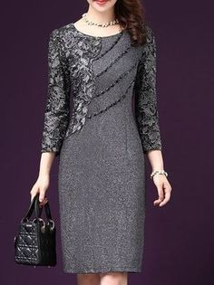 Long Sleeve Beaded Elegant Sheath Plus Size Dress