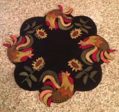Primitive Wool Penny Rug Roosters