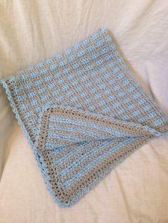 Tunisian crochet blanket. Baby blue and gray blanket. Baby boy. Blue bedding. Nursery decor