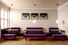 love the purple upholstery on these benches in berlin (mogg and melzer benches)