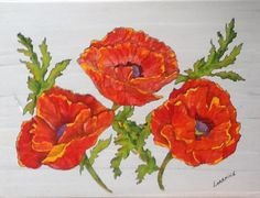 "Poppy Art - ""Poppies on My Table"" - Painted tabletop by Lorraine Skala - Follow me on FB at Sunflower Studio - Frameable prints & notecards available"