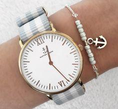 Armbänder - Armband mit hellblauen Perlen und Anker in silber - ein Designerstück von Lovestatement_ bei DaWanda