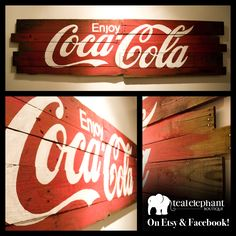 """Custom Pallet Art: Enjoy Coca-Cola 80""""x20"""" Created by www.etsy.com/shop/tealelephantboutique. See more Custom Art at www.facebook.com/tealelephantboutique"""