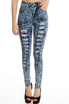 Distressing Drama Shredded High Waist Acid Wash Jeans - Blue from Miss Posh at Lucky 21