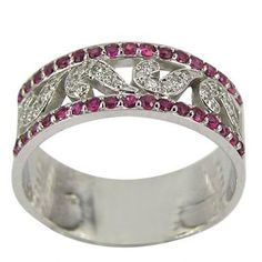 This is a very affordable and fashionable band in 14K white gold, and has pink sapphires in two outer rails which accent bright sparkling diamonds in curlicue shapes.