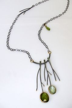 Twig necklace by Sydney Lynch Enamel Jewelry, Metal Jewelry, Jewelry Art, Beaded Jewelry, Handmade Jewelry, Jewelry Design, Beaded Necklace, Unique Jewelry, Necklaces