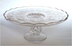 Vintage Elegant Prelude Etched Pedestal Cake Plate